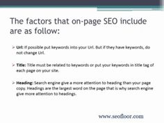 Seofloor is a USA SEO company. Seofloor is team of experts professionals, which helps to get you on the first page of search engine like Google. Seofloor helps to promote your website with custom keyword analysis. They help to get your company ranked on Google and massive exposure to your customers. To know more about seofloor Visit www.seofloor