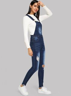 To find out about the Bleach Wash Ripped Denim Pinafore Jumpsuit at SHEIN, part of our latest Denim Overalls ready to shop online today! Demin Jacket, Denim Pinafore, Jumpsuit Outfit, Jumpsuit Style, Skinny Waist, Denim Overalls, Young Models, Ripped Denim, Playsuit