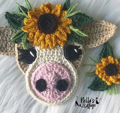 Crochet Cow, Crochet Sunflower, Crochet Unicorn, Baby Blanket Crochet, Crochet Motif, Easy Crochet, Free Crochet, Bolero Crochet, Crochet Sloth