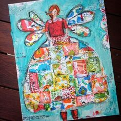 mixed media quilt girl