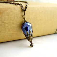 Cobalt Hot Air Balloon Necklace of cut by ElainaLouiseStudios