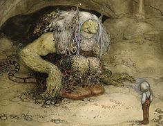 The Troll and the Boy (w/c on paper) by Bauer, John (1882-1918)