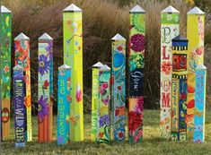 Painted Peace Collection, Studio M, Magnet Works, Stephanie Burgess Painted Peace Collection, Studio Garden Crafts, Garden Projects, Art Projects, Yard Art Crafts, Garden Ideas, Parc A Theme, Garden Poles, Garden Stakes, Garden Soil