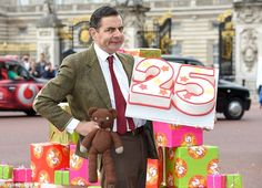 Time flies! Rowan Atkinson as Mr Bean celebrated 25 years of his sitcom outside Buckingham...