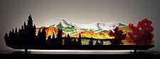 "Early Snow on Mt. Katahdin by Bernie Huebner and Lucie Boucher (Art Glass Sculpture) (11"" x 42"")"