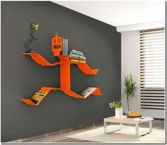 Orange stick man running bookshelves - very unique
