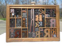 Letterpress Antique Type Graphic Design Initial R Wood Copper Metal Has 55 R 's