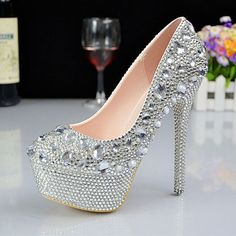 5f6ec237c82e Hot Sale Big Rhinestones Women Wedding Shoes Heels Elegant Crystal Bridal  Shoes Women Pumps Silver Plus