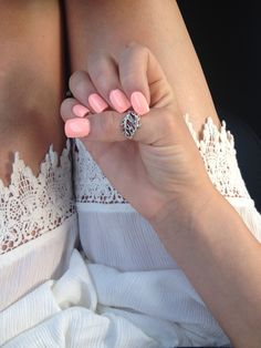 Coral pink acrylic nails! Perfect for summer!