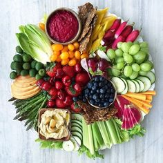 Ultimate crudite and fruit platter.serve with pita, toasted bread and crackers for a large crowd Party Platters, Veggie Platters, Veggie Tray, Cheese Platters, Meat Platter, Snack Platter, Catering Platters, Hummus Platter, Vegetarian Platter