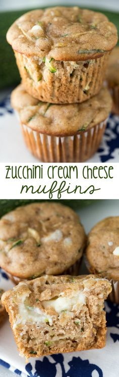 Fast and easy Zucchini Cream Cheese Muffins! Perfect for leftover zucchini, these freeze well for easy breakfasts!