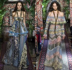 Roberto Cavalli 2017 Spring Summer Womens Runway Catwalk Looks - Milano Moda Donna Collezione Milan Fashion Week Italy - 1970s Seventies Hippie Bohemian Boho Chic Flare Patchwork Denim Jeans Poncho Cloak Cape Fringes Tribal Ethnic Folk Native American Western Cowgirl Vest Gilet Flowers Floral Mix Match Suede Stripes Embroidery Bedazzled Sheer Chiffon Jacket Blazer Velvet Bralette Cargo Pockets Robe Geometric Beads Strapless Blouse Sequins Ruffles Gold Jacquard Furry Leather Maxi Dress…