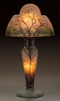 DAUM ETCHED AND ENAMELED GLASS RAIN LAMP. Circa 1900.