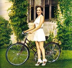 i'm sorry, dorothy lamour, i have zero idea who you are. however, i like your cute summer dress, ankle socks, bike and saddle shoes. truce?