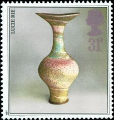 Stamp: Pot by Lucie Rie (United Kingdom of Great Britain & Northern Ireland) (Pottery) Mi:GB 1245 Uk Stamps, Love Stamps, Stamp Catalogue, Postage Stamp Art, Going Postal, Kingdom Of Great Britain, Penny Black, Ceramic Artists, Mail Art