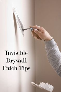 Drywall patching tips and tricks. Good tips for patching drywall and making it look professional. How To Patch Drywall, Drywall Repair, Patching Drywall, Drywall Finishing, How To Finish Drywall, Plaster Repair, Drywall Tape, Home Renovation, Home Remodeling