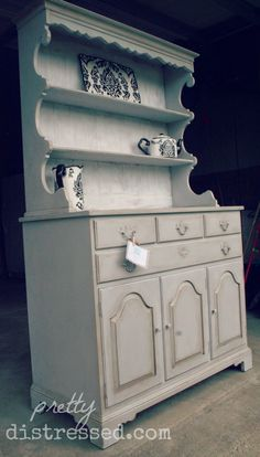 Cottage Inspired Dining Hutch. Refinished Thomasville hutch with Annie Sloan Chalk Paint in Paris Grey.