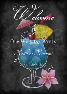 Hawaiian Wedding Chalkboard Printable Sign A4 size - Wedding Welcome Board, Wedding Welcome Chalkboard Sign, Wedding Decor, K&K by KnKChalkArtDesigns on Etsy