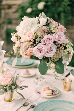 #Centerpiece | See More on SMP: http://www.StyleMePretty.com/washington-dc-weddings/2014/01/06/romantic-blush-teal-wedding-inspiration/ Amelia Johnson Photography