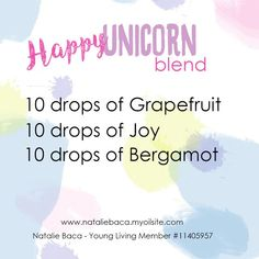 Natalie Baca: Happy Unicorn Blend, Young Living, essential oils, blends, rollerball #essentialoilsblends