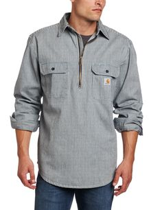 Carhartt Men's Hickory Stripe Shirt Denim Quarter Zip,Hickory Stripe,X-Large