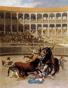 Francisco Goya Picador Caught by the Bull, , British Rail Pension Trustee Co. Read more about the symbolism and interpretation of Picador Caught by the Bull by Francisco Goya. Spanish Painters, Spanish Artists, Francisco Goya Paintings, Art Espagnole, Francisco Jose, European Paintings, Contemporary Paintings, Oil Painting Reproductions, Art And Architecture