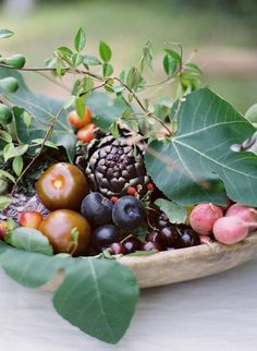 """Go for a more romantic palette of bold hues (think plums, artichokes, radishes) mixed in with an assortment of leafy greens."" 