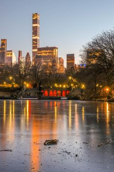 Central Park Bethesda Fountain Frozen Pond during winter with City lights in the background Bethesda Fountain, Frozen Pond, 3 Arts, City Lights, Buy Frames, Willis Tower, Central Park, New York Skyline, Gallery Wall