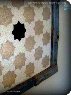 Rug inspiration: Moroccan Stencils Eight Pointed Stars Wall Stencils - Royal Design Studio