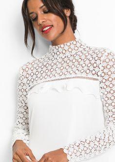 19245422fa8f Kleid mit Volant und Spitze Durchsichtig, Farbig, Oberteile, Spitze,  Bekleidung, Kleider