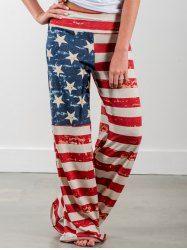American Flag Printed Wide Leg Pants - US FLAG