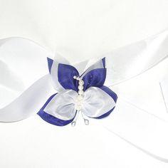Floral Sash White Wedding Sash White Bridal Sash by nadezdaflowers