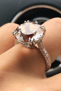 morganite engagement rings round cut solitaire pave band rose gold - June 15 2019 at Modern Engagement Rings, Round Cut Engagement Rings, Perfect Engagement Ring, Ring Engagement, Traditional Engagement Rings, Morganite Engagement, Wedding Rings, Bridal Rings, Rings