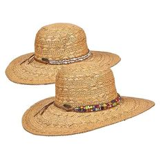 12522a6e47ffd Straw Sun Hat with Beaded Leatherette Band -Cappelli Straworld