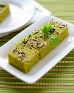 Spinach Dhokla ~ Healthy & Savory Steamed Indian Cake #Recipe