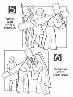 Sorozatok (A keresztút állomásai). Easter Coloring Pages, Colouring Pages, Lent, What Is Life About, Print And Cut, Sunday School, Catholic, Preschool, Baby