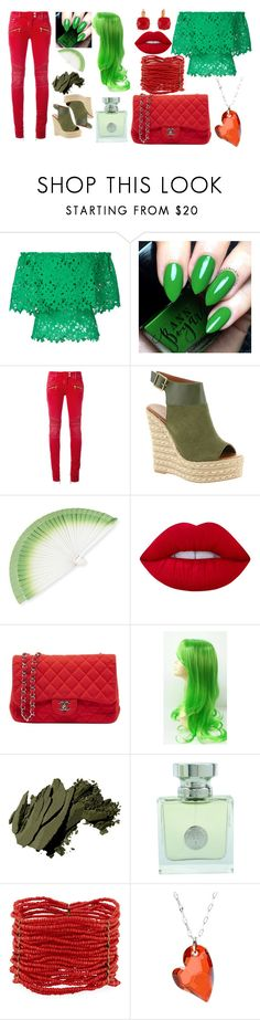 """""""Green and red"""" by pusheenthecat-956 on Polyvore featuring Bambah, Balmain, Mojo Moxy, FernFans, Lime Crime, Chanel, Bobbi Brown Cosmetics, Versace, Berry and La Preciosa"""