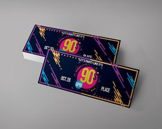 90'S Event Tickets Design Editable   party ticket    birthday tickets   PSD CMYK 300DPI   very easy to edit   you can request a custom order Event Tickets, Party Tickets, Ticket Design, Flyer Design, Concert Ticket Template, 90s Party, Fundraising, Custom Design, Handmade Gifts