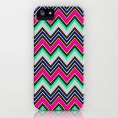 Aztec print pink green white bright neon iphone case