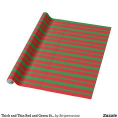 Thick and Thin Red and Green Stripes Wrapping Paper