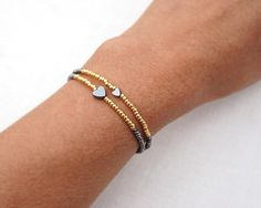 Items similar to Minimal Bracelet Tiny Bracelet Friendship Bracelet Petite Heart Bracelet Thin Bracelet Silver/Gold Stacking Bracelet mothers day gift on Etsy Bracelets Fins, Simple Bracelets, Silver Bracelets, Beaded Bracelets, Bracelet Making, Jewelry Making, Diy Bracelet, Wire Jewelry, Handmade Jewelry