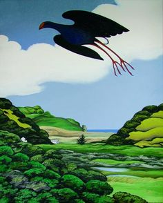 Paintings - Donald Binney - Page 2 - Australian Art Auction Records Bird Pictures, Pictures Images, Art Images, Thinking In Pictures, New Zealand Art, Nz Art, Maori Art, Australian Art, Indigenous Art