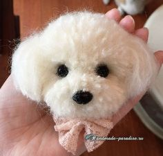 DIY pom-pom toys - DIY toys from pompons – a selection of beautiful ideas for creating soft fluffy toys from complex - Dog Crafts, Animal Crafts, Cute Crafts, Yarn Crafts, Felt Crafts, Crochet Crafts, Pom Dog, Pom Pom Animals, Crochet Summer Hats