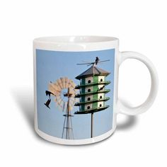 3dRose Purple Martin, Progne subis, at nest box near windmill, Texas, USA, Ceramic Mug, 11-ounce