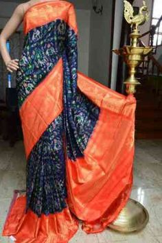 Graceful Blue n Orange Color Soft Silk Designer Saree - Indian Silk Sarees, Ikkat Silk Sarees, Wedding Sarees Online, Silk Sarees With Price, Bridal Silk Saree, Green Saree, Ethnic Wear Designer, Elegant Saree, Traditional Sarees