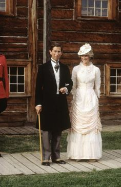 Diana Princess of Wales and Prince Charles dressed up in Edwardian fashion for a Klondike evening barbeque