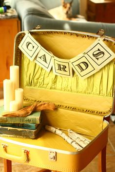 Vintage Yellow 1960s Suitcase Wedding Decor by vintageatmosphere