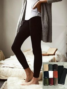 Essential solid fleece leggings. Imagine a fleece pullover…for your legs! Unbelievably warm and comfortable with superb stretch. Ankle length. Wash in cold and lay flat to dry. 95% Polyester 5% Spande