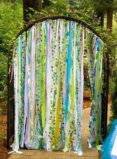 Items similar to Woodsy Garland Ribbon Curtain Fairygarden Faerie Unicorn Enchanted Forest Woodland Backdrop Aqua Lavender Purple Lime Green ~Boho Hippie on Etsy Woodsy Garland Rustic Fairy garden curtains created from vintage fabrics are. Garden Birthday, Fairy Birthday Party, Birthday Ideas, Decoration Creche, Fairy Decorations, Wedding Decorations, Enchanted Forest Party, Enchanted Forest Decorations, Enchanted Garden