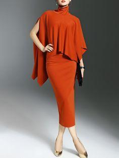 Shop Midi Dresses - Orange Elegant Turtleneck Cotton-blend Two Piece Work Dress online. Discover unique designers fashion at StyleWe.com.